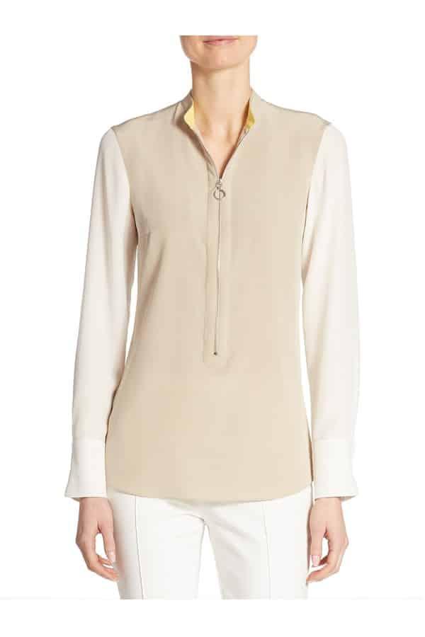 Zip-Front Colorblock Silk Blouse