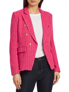 Alexa Tweed Double Breasted Blazer in Hot Pink Tweed