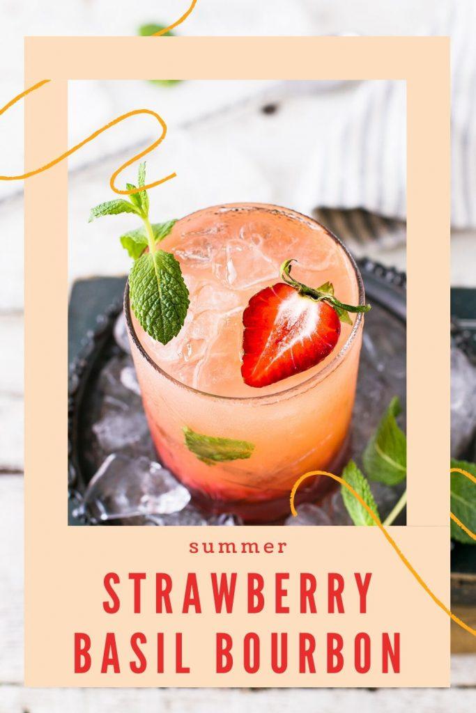 Strawberry Basil Bourbon Cocktail recipe