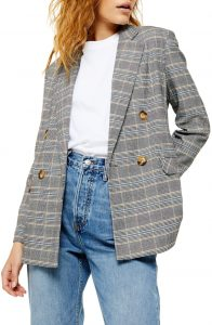 Double Breasted Plaid Women's Blazer