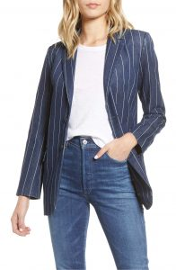 Cotton Blend Wide Pinstripe Blue and White Blazer