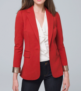 Women's Blazers with fun detailing like metallic trim cuffs