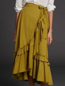Anthropologie Maeve Constance Ruffled Maxi Skirt