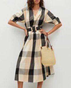 Mango Check belt dress