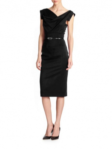 Black Halo Jackie O. Drape Knee-Length Dress