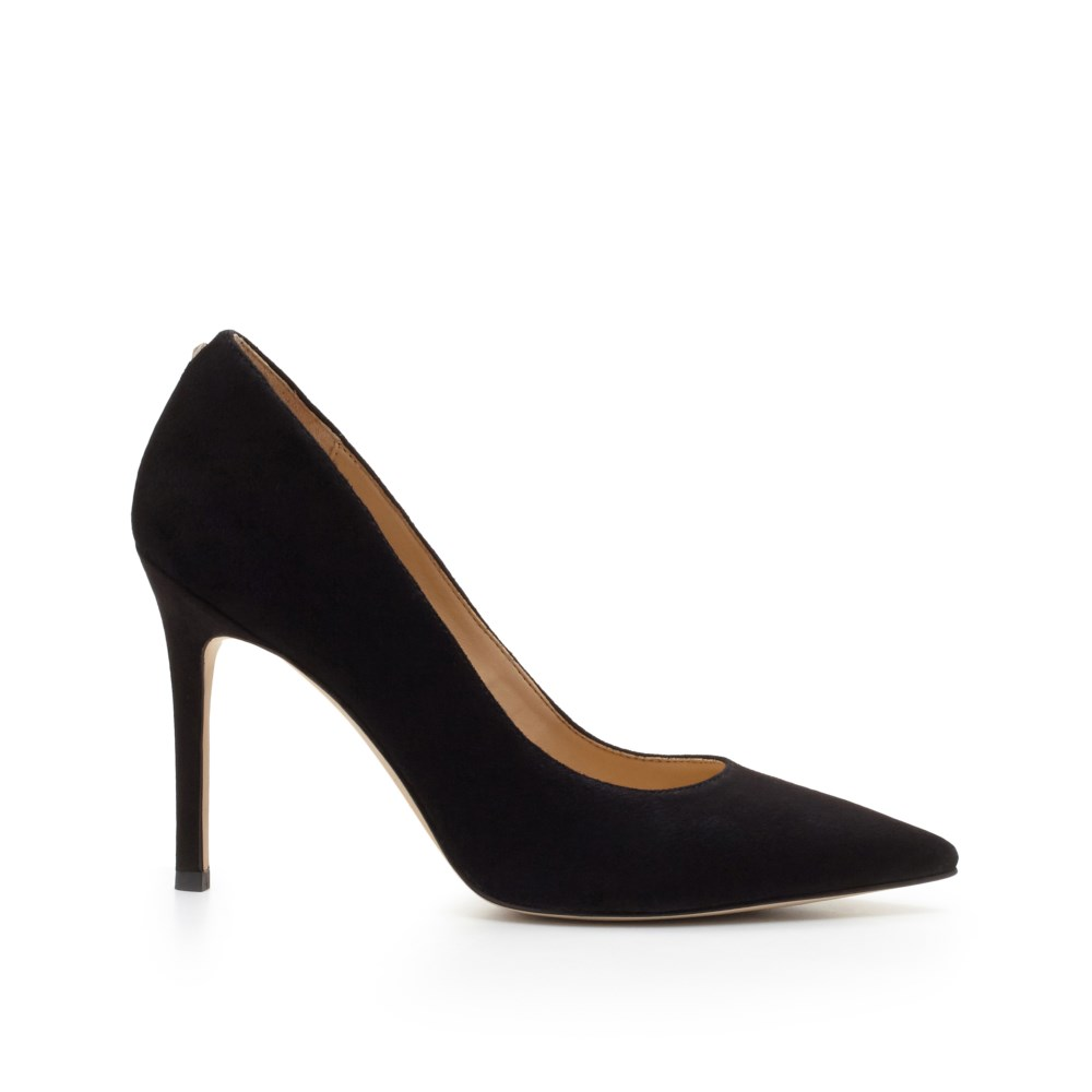 A classic pump in suede will add some stylish flair