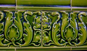Decorative ceramic tile in Hampstead tube station
