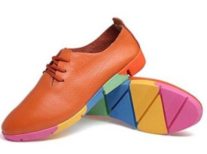 Kunsto Women's Leather Casual Oxford Shoes