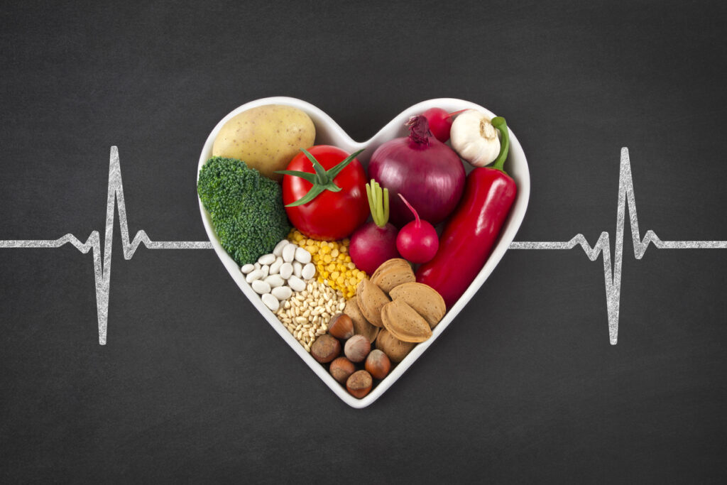 Vegetables in a heart, healthy diet, ways to improve your health