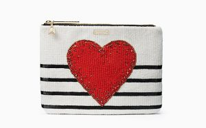 Kate Spade New York on purpose heart embellished clutch