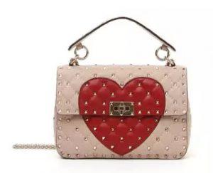 Valentino Garavani Rockstud Quilted Heart Shoulder Bag