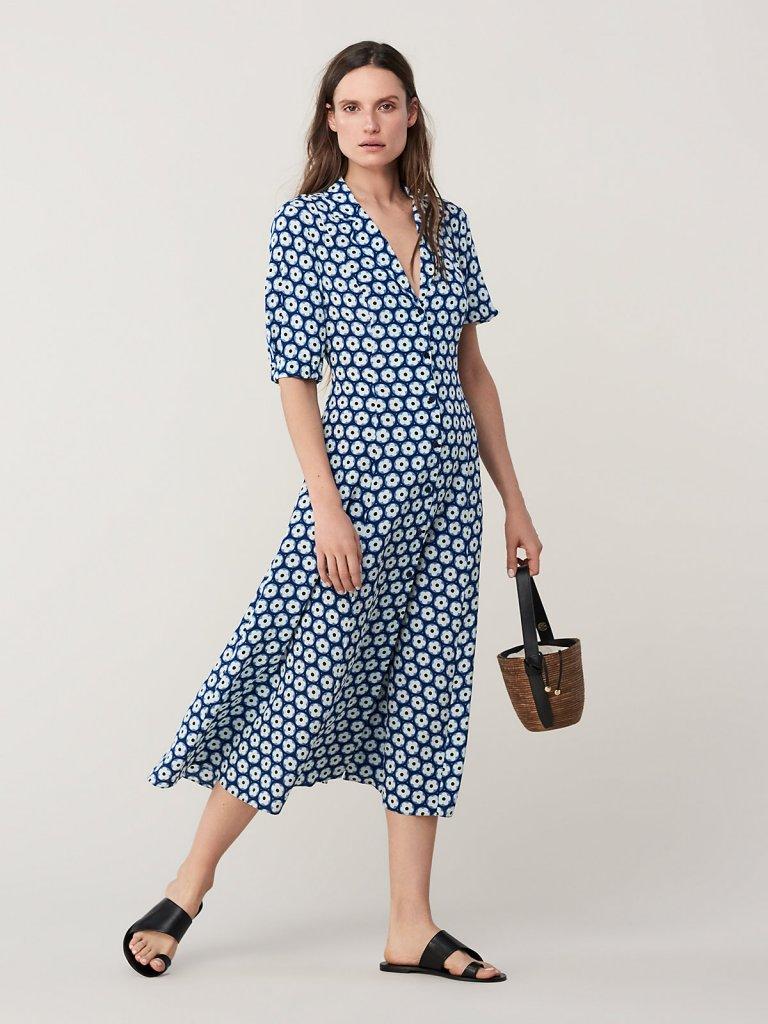 DVF Lily Cinch Sleeve Midi Dress