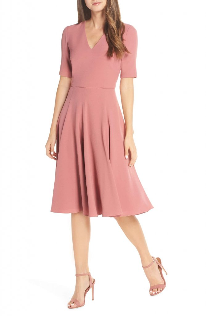 Gal Meets Glam Edith City Crepe Fit & Flare Midi Dress