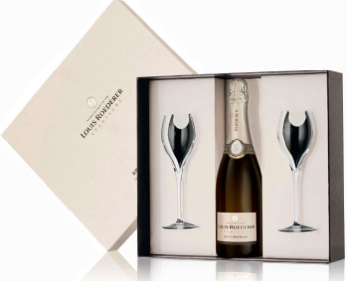 Louis Roederer Brut Premier Champagne Gift Boxed with 2 Glasses