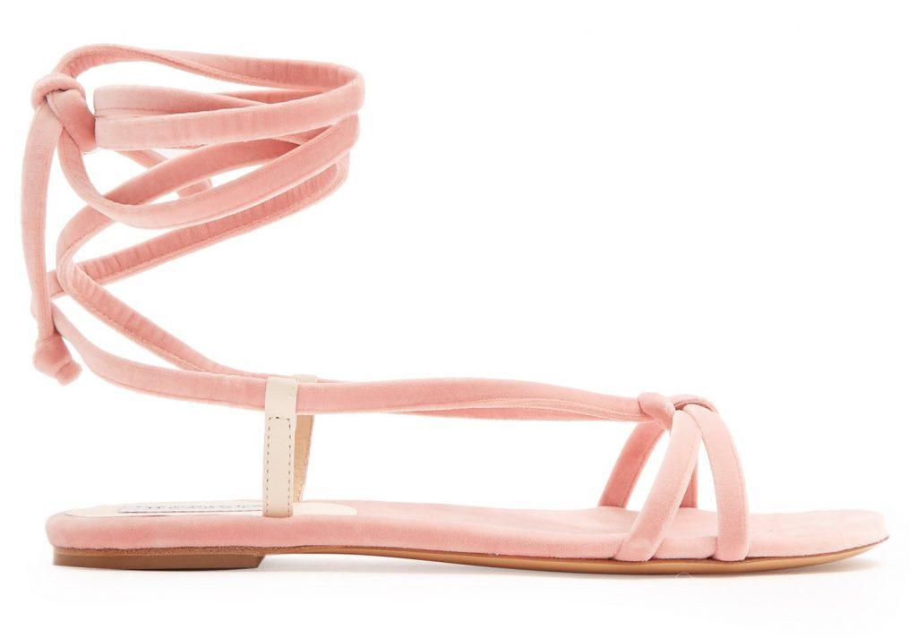Gabriela Hearst Reeves Velvet Wraparound Sandals