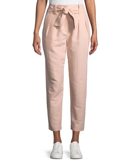 Joie Jun Straight-Leg Cotton-Linen Pants