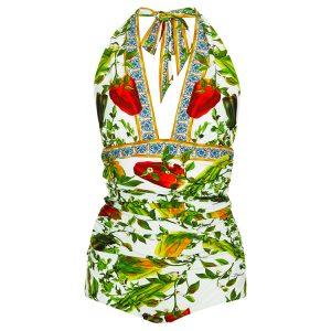 Dolce & GabbanaHalter Plunge Swimsuit