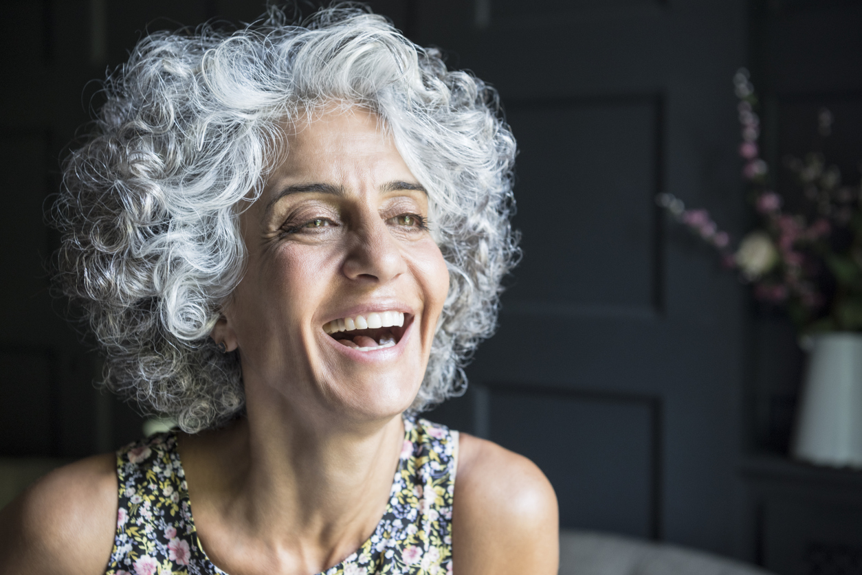 gorgeous gray hair woman