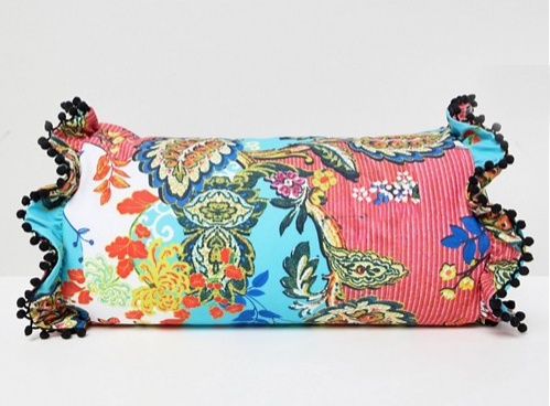 ASOS DESIGN Paisley Print Pom Pom Trim Beach Pillow
