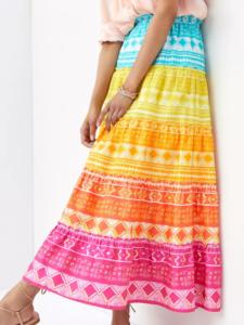 Anthropologie Rainbow Tiered Maxi Skirt