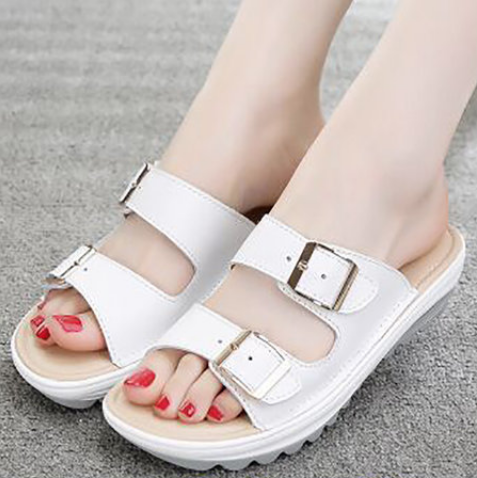 Beach Casual Buckle Summer Peep Toe Wedge Slippers