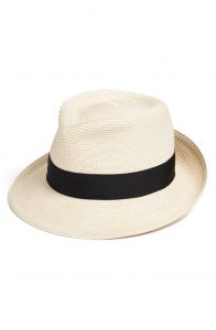 fedora style packable hat white with black band for summer accessories