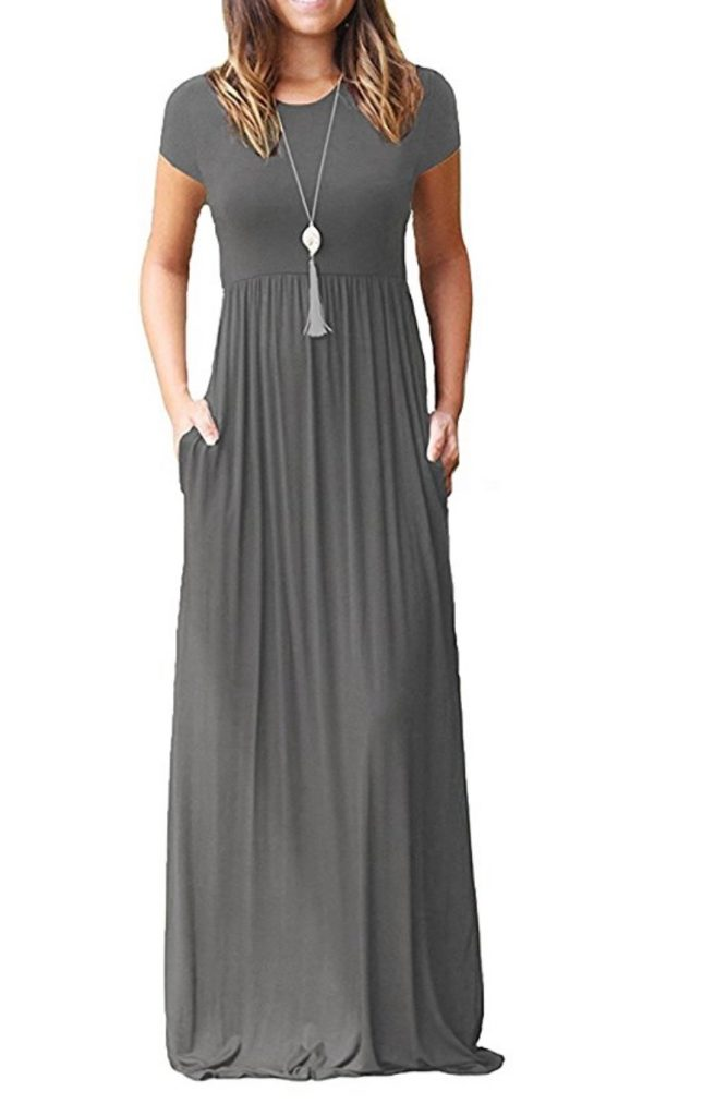 DEARCASE Short Sleeve Loose Plain Maxi Dresses Casual Long Dresses with Pockets
