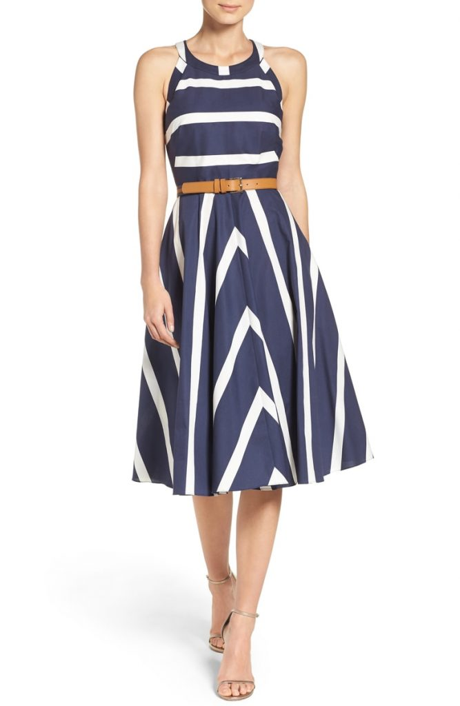 Eliza J Stripe Fit n Flare Dress