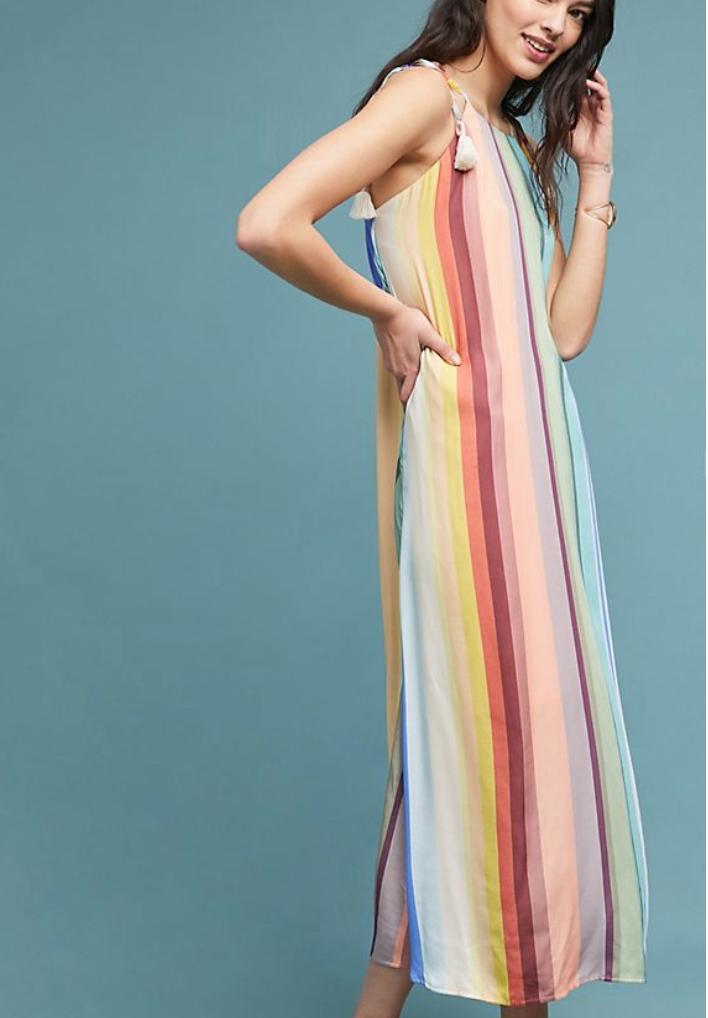Farm Rio Rainbow-Striped Dress