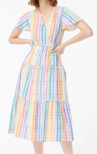 JCREW Faux-wrap dress in rainbow gingham