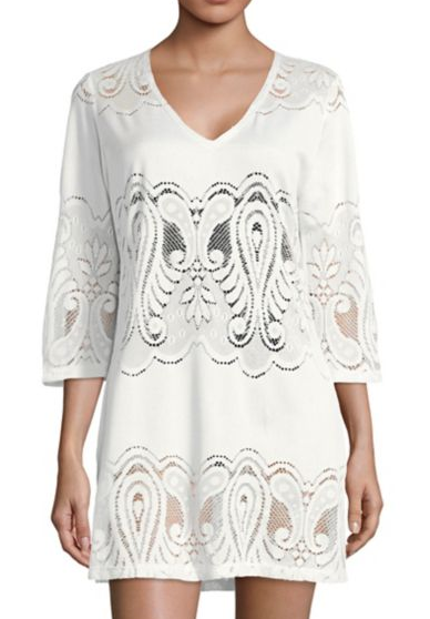 J Valdi Embroidered Lace Coverup