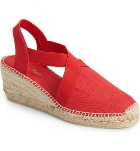 Sling back red espadrille wedge sandal for summer