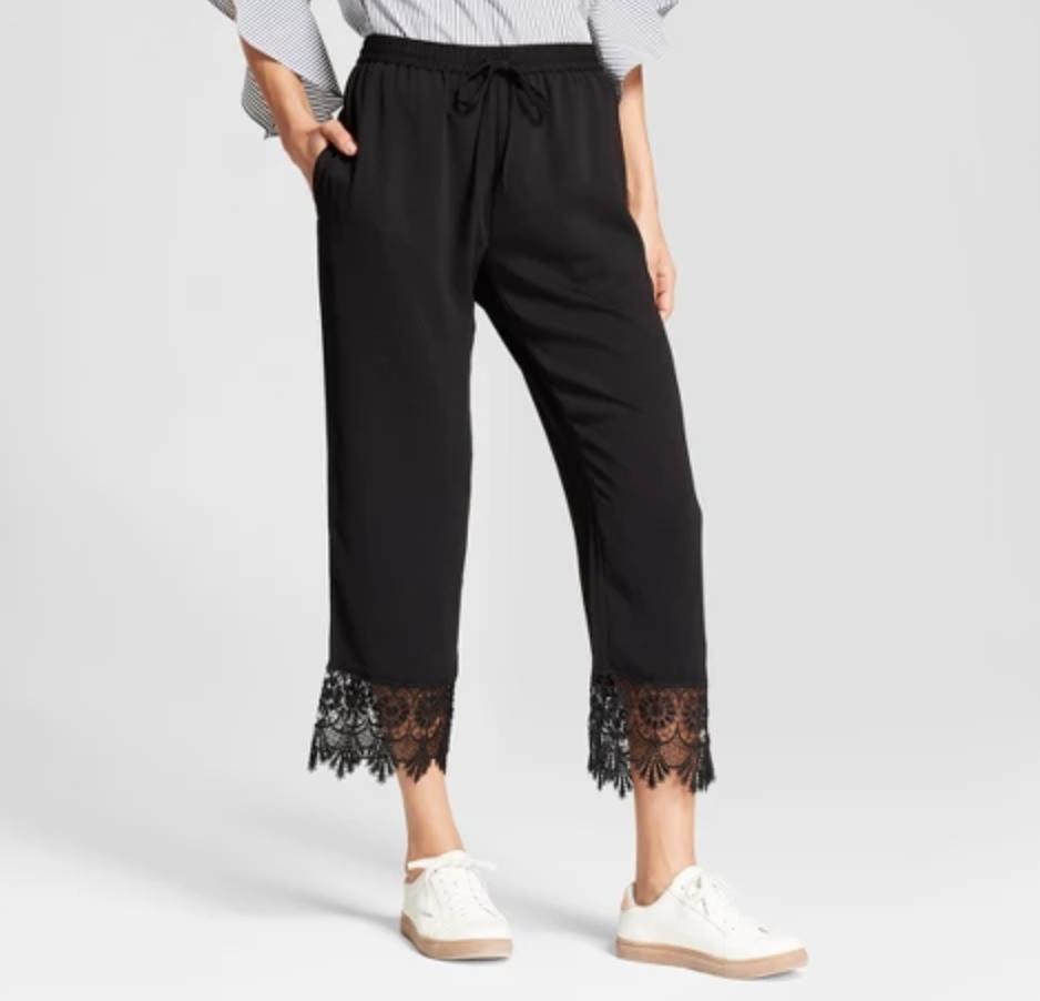 August Moon Crochet Trim Soft Pants