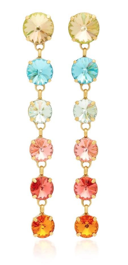 roxanne assoulin multi-technicolor rainbow drop earrings