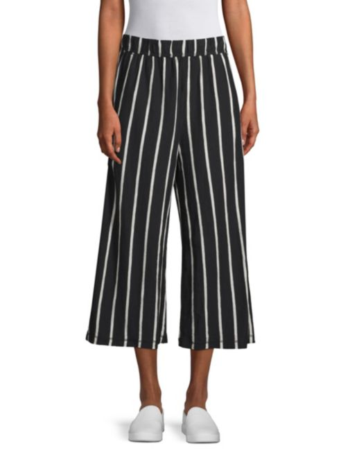Striped Wide Leg Capri Pants