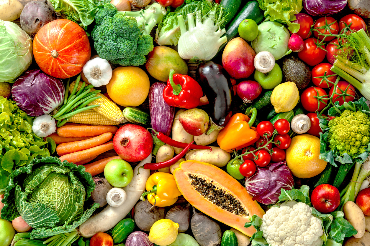 Assortment of fresh fruits and vegetables for an anti-inflammatory vegan diet