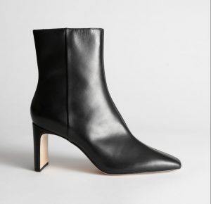 Black Square Toe Square Heel Booties Other Stories