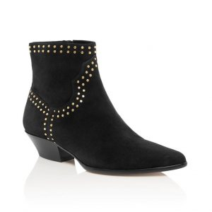 Black Suede studded women's bootie by Tamara Mellon