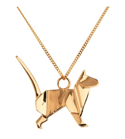 Origami Jewelry Cat Necklace