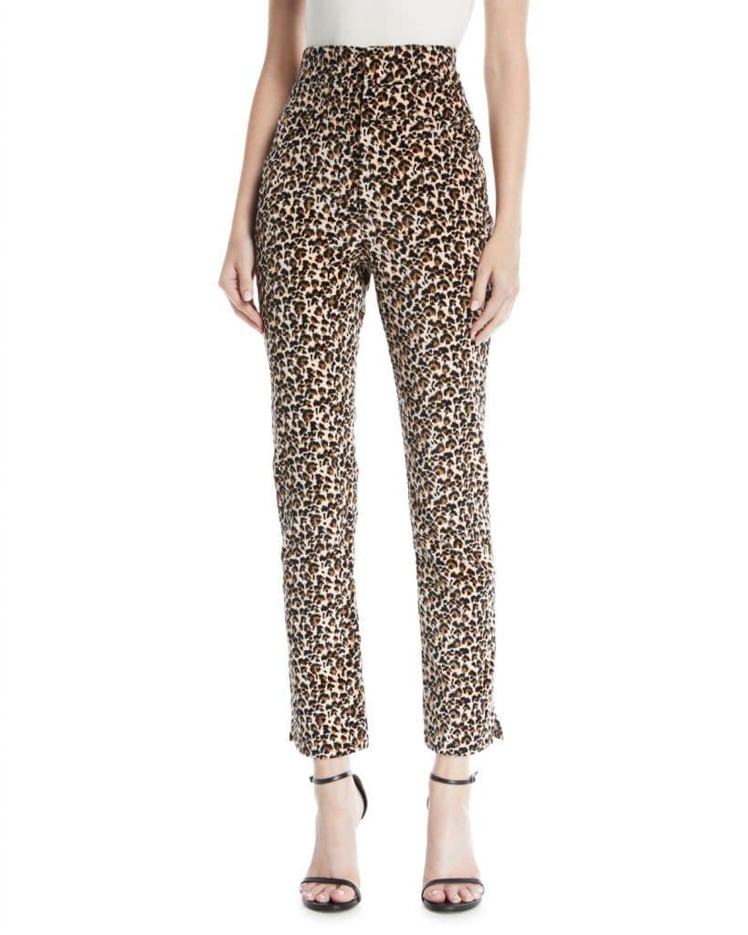 Rebecca Taylor Leopard Print Velvet Hiwaisted Pant