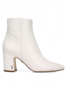 White Block heel booties by Sam Eddleman at Saks