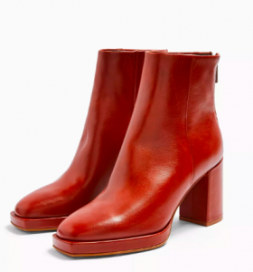 Red Square Toe Platform Boots