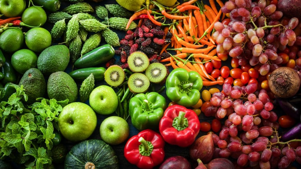 Weight Gain from Tropical fresh fruits and vegetables organic for healthy lifestyle, Arrangement different vegetables organic for eating healthy and dieting