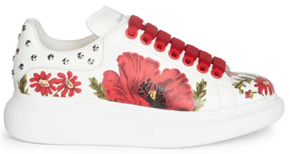 Alexander McQueen Leather Floral Sneakers