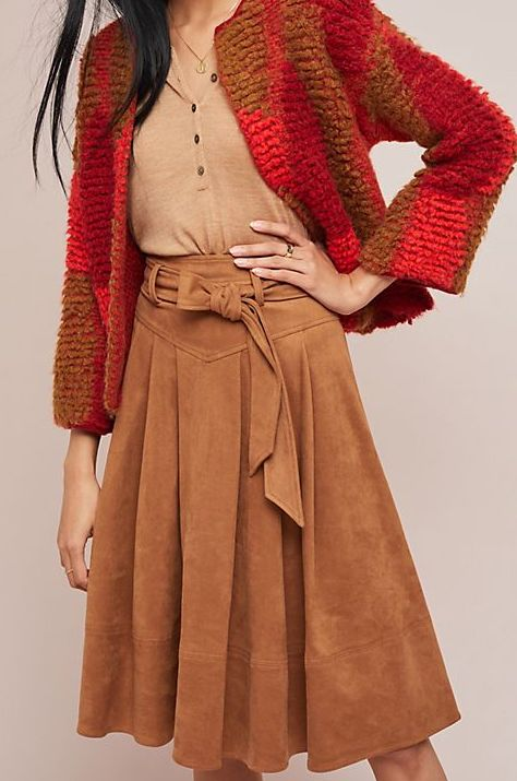 Anthropologie Faux Suede Skirt