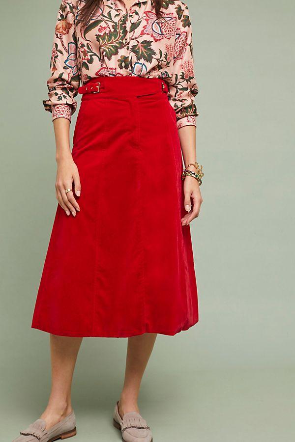 Anthropologie Regal Velvet Skirt