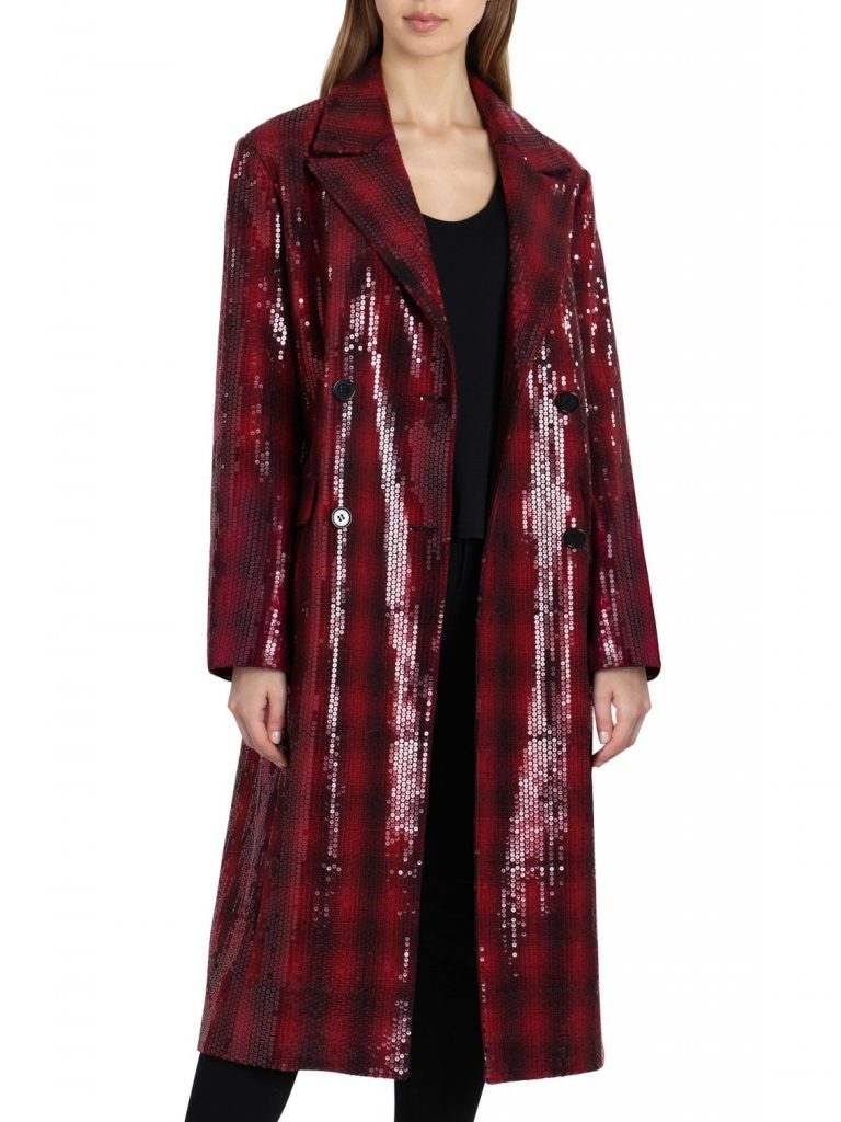 Badgley Mischka Sequin Plaid Statement Coat