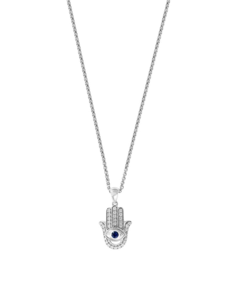 Effy, Sterling Silver, Diamond and Sapphire Hamsa Pendant Necklace