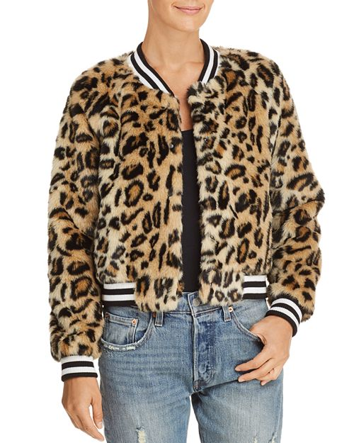 Jack by BB Daota, Clever Girl Leopard Print Faux-Fur Bomber Jacket