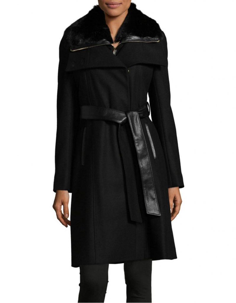 French Connection Belted Faux Fur Coat